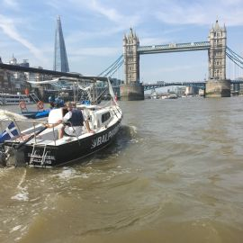 Below the Bridges Thames Tour - Foldable mast demonstrations to Greenwich, London Corinthian and Twickenham Yacht Clubs.
