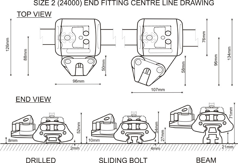 Size 2 (24000 Range) End Fitting CL Drawing